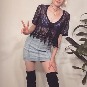 Vintage Tops - Vintage Black Lace Crop Top